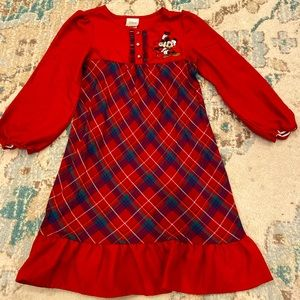 Disney Store Plaid Minnie and Mickey Nightgown 5/6
